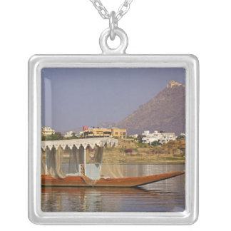 Small boat, Lake Pichola, Udaipur, India. Square Pendant Necklace
