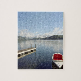 Small boat tied up on dock at Lake Placid Jigsaw Puzzle