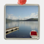 Small boat tied up on dock at Lake Placid Square Metal Christmas Ornament