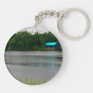 small boathouse florida scene across lake Double-Sided round acrylic keychain
