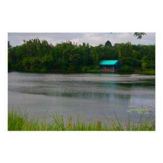 small boathouse florida scene across lake print
