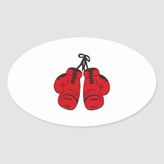 SMALL BOXING GLOVES OVAL STICKER