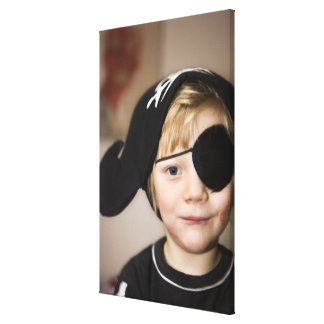 Small boy dressed as pirate stretched canvas prints