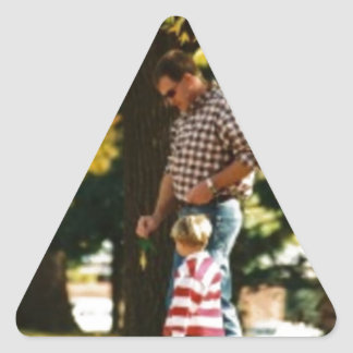 Small Boy going for a walk with Dad Triangle Sticker