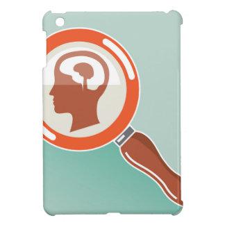 Small brain under magnifying glass iPad mini cases
