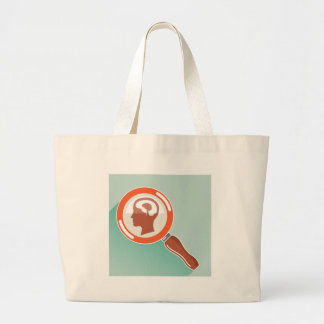 Small brain under magnifying glass large tote bag