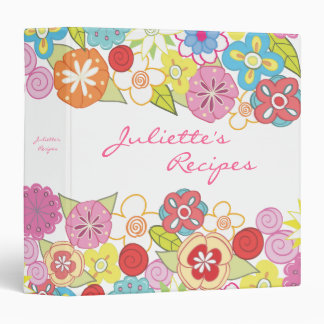 Small Bright Blossoms Floral Recipe Book Binder