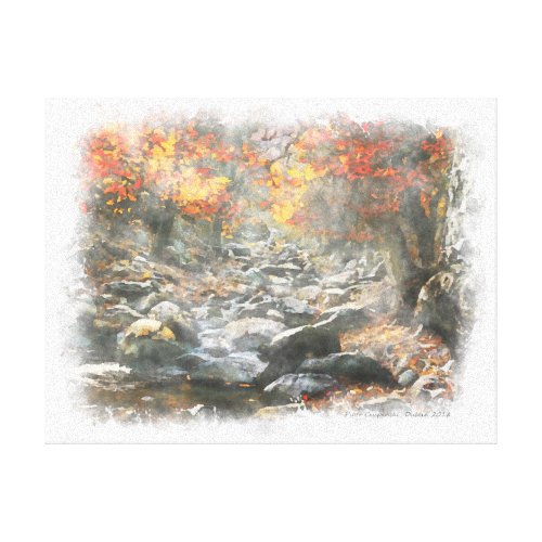 Small Brook Canvas Print - rustic fall wall decor