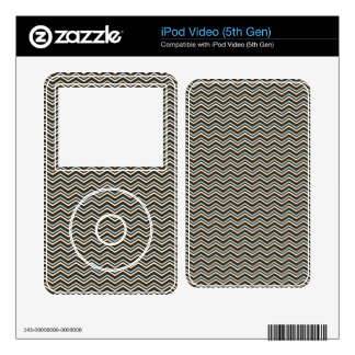 Small Brown and Baby Blue Chevron Stripes Decals For iPod Video