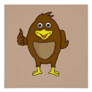 Small brown bird design cards and paper products poster