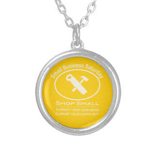 Small Business Saturday Hardware (white) Silver Plated Necklace