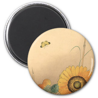 Small butterfly and sunflower by Ohara Koson 2 Inch Round Magnet