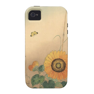 Small butterfly and sunflower by Ohara Koson Case-Mate iPhone 4 Covers