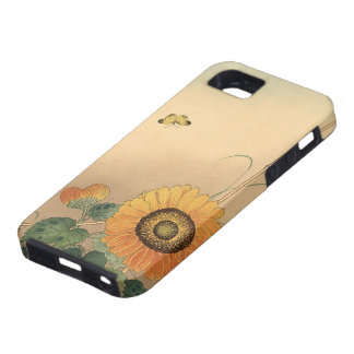 Small butterfly and sunflower by Ohara Koson iPhone 5 Covers