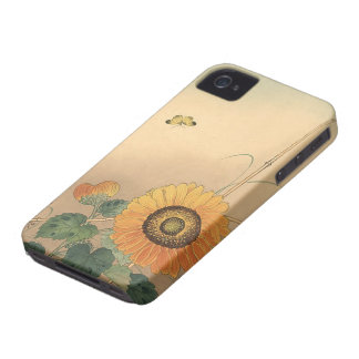 Small butterfly and sunflower by Ohara Koson iPhone 4 Case-Mate Case