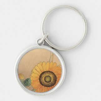 Small butterfly and sunflower by Ohara Koson Keychain