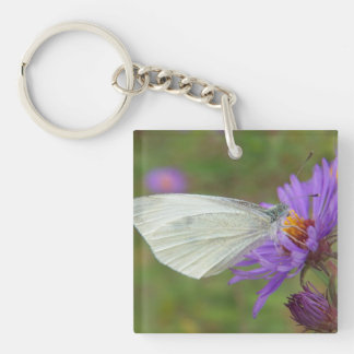 Small Cabbage White Butterfly Keychain