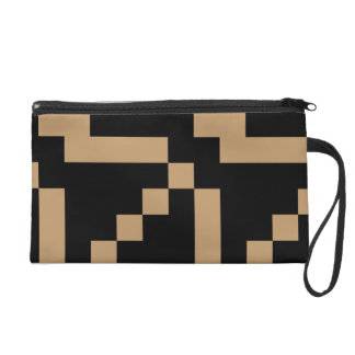 Small Camel Brown Squares on Black Wristlet Purse