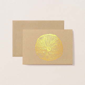 Small Card - Mushroom Lino Print in Gold Foil