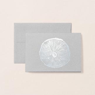 Small Card - Mushroom Lino Print in Silver Foil