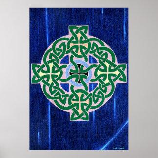 Small celtic cross (negative) print