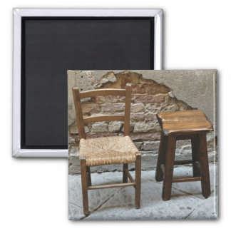 Small chair and stool, Pienza, Italy Magnet