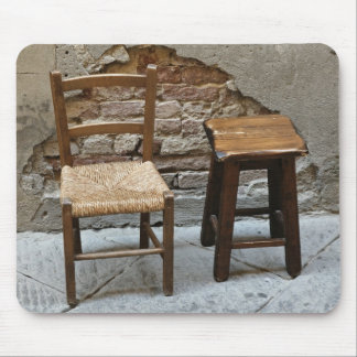 Small chair and stool, Pienza, Italy Mouse Pad