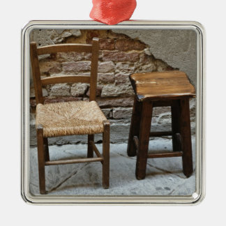 Small chair and stool, Pienza, Italy Square Metal Christmas Ornament