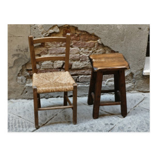 Small chair and stool, Pienza, Italy Postcard