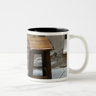 Small chair and stool, Pienza, Italy Two-Tone Coffee Mug