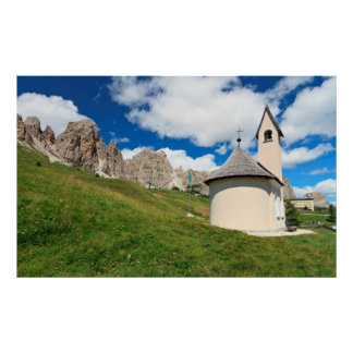 small chapel in Dolomites Poster