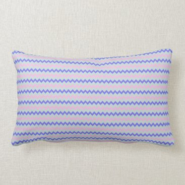 Beach Themed Small chevron pattern blue pink lumbar pillow
