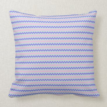 Beach Themed Small chevron pattern blue pink throw pillow