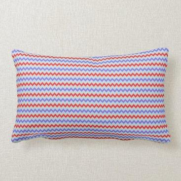 Beach Themed Small chevron pattern blue red lumbar pillow