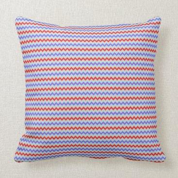 Beach Themed Small chevron pattern blue red throw pillow