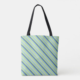 Small chevron pattern green and blue tote bag