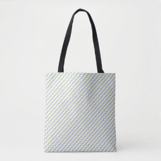 Small chevron pattern light blue cream tote bag