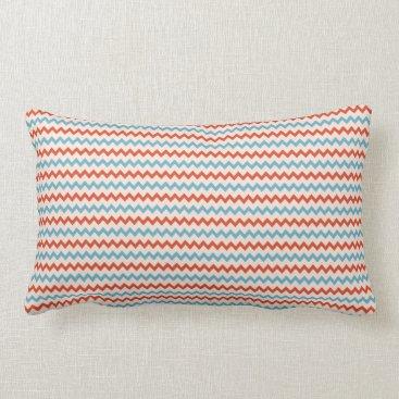 Beach Themed Small chevron pattern red blue pink lumbar pillow