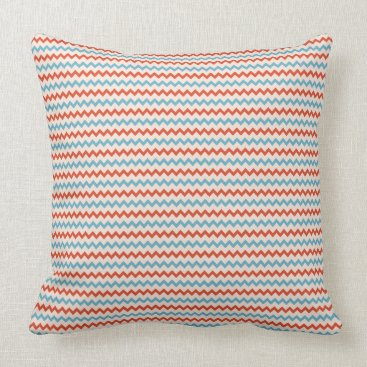 Beach Themed Small chevron pattern red blue pink throw pillow