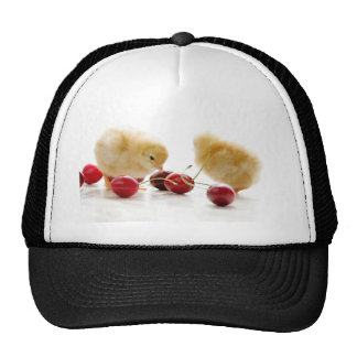 Small chickens and blows cherries trucker hat