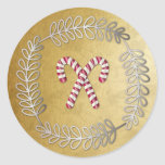 Small Christmas Candy Cane Round Sticker 4