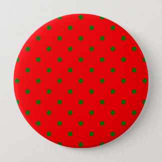 Small Christmas Green Polka dots on Red Button