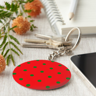 Small Christmas Green Polka dots on Red Keychain