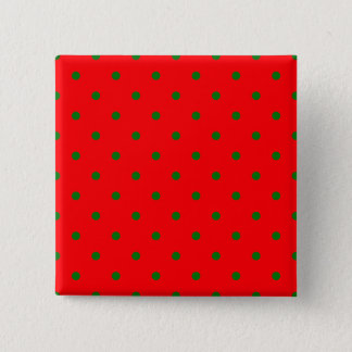 Small Christmas Green Polka dots on Red Pinback Button
