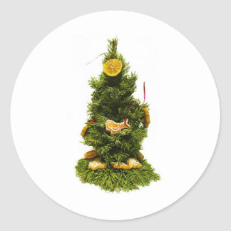 Small Christmas Tree Classic Round Sticker