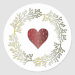 Small Christmas Wreath & Heart Round Sticker