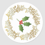 Small Christmas Wreath & Holly Round Sticker