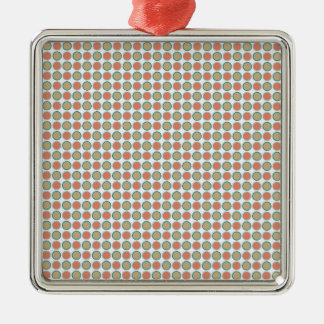 Small circles dots in grey and vermilion metal ornament