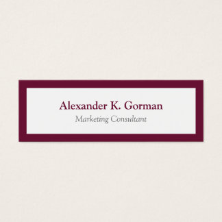 Small classic burgundy border solid professional mini business card