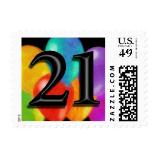 Small Colorful Birthday Balloons on Black - 21 Postage Stamp